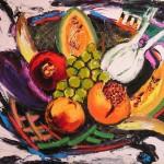 Cesto di frutta olio su tela 40 x 50