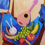 Frutta e mandolino olio su tela 50 x 70