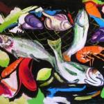 Il pescato olio su tela 50 x 70