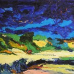 Fossato di Vico - Umbria notte di vento olio su tela 40 x 50