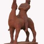 Cavallo e cavaliere terracotta h37