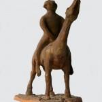 Cavallo e cavaliere terracotta h40