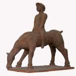 Cavallo e cavaliere terracotta h41