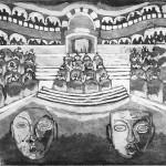 Il teatro delle maschere acquaforte acquatinta 238 x 319