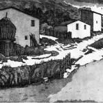 Purello - Le stalle di gigi al chiaro di luna acquaforte acquatinta 17,5 x 31,2