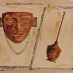 Maschera e peltro 40 x 50 olio su tela