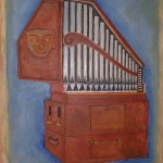 Maschera e organo olio su tela 60 x 80