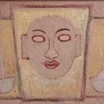 Maschera e peltri 35 x 50 olio e lana di vetro