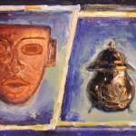 Maschera e peltro 30 x 50 olio su tela