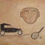Maschera e ricordi giovanili olio su tela 40 x 50