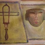 Maschera e strumento arcaico olio su tela 30 x 40