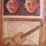 Maschere e chitarra olio su tela 60 x 80